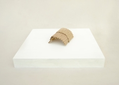 S/T. Serie Arquitecturas alternativas, 2016. Cartón encolado sobre peana de madera. 5 x 7 x 9 cm.